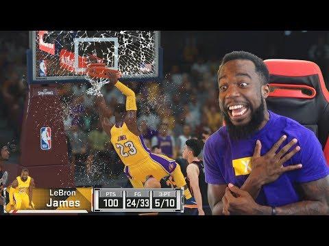 Scored 100 POINTS w/ Backboard Breaking Lebron James! NBA 2K18 MyTeam