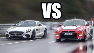 NISSAN GTR R35 vs MERCEDES BENZ AMG GTS  - RACE!