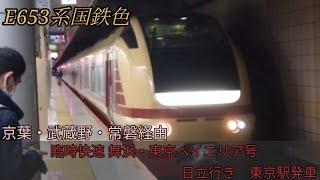 【E653系国鉄色】臨時快速舞浜・東京ベイエリア号 日立行き 東京駅発車