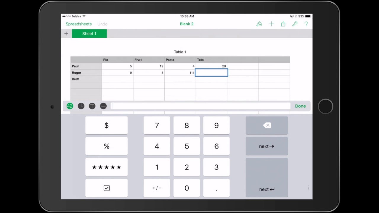 Creating basic formulas using Numbers App for iPad - YouTube