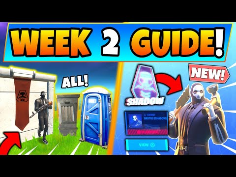 Fortnite SHADOW SAFE HOUSES & WEEK 2 CHALLENGES GUIDE! Brutus Briefing In Battle Royale Season 2