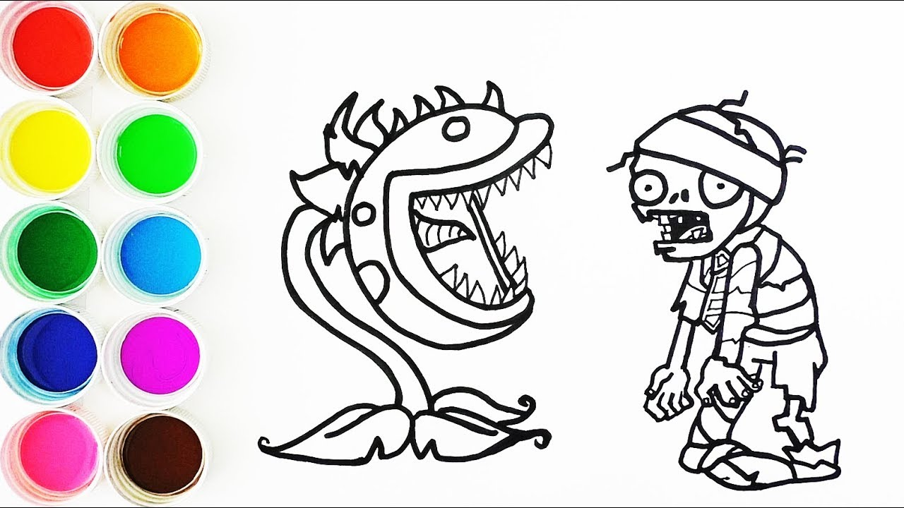 Cómo Dibujar Y Colorear Planta Carnibora De Plants Vs Zombies Learns Colors Funke
