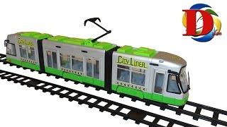 Открываем игрушки машинки. Городской трамвай с гармошкой. Dickie Toys City Liner Обзор Игрушки