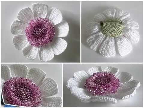 Вязанный цветок крючком видео