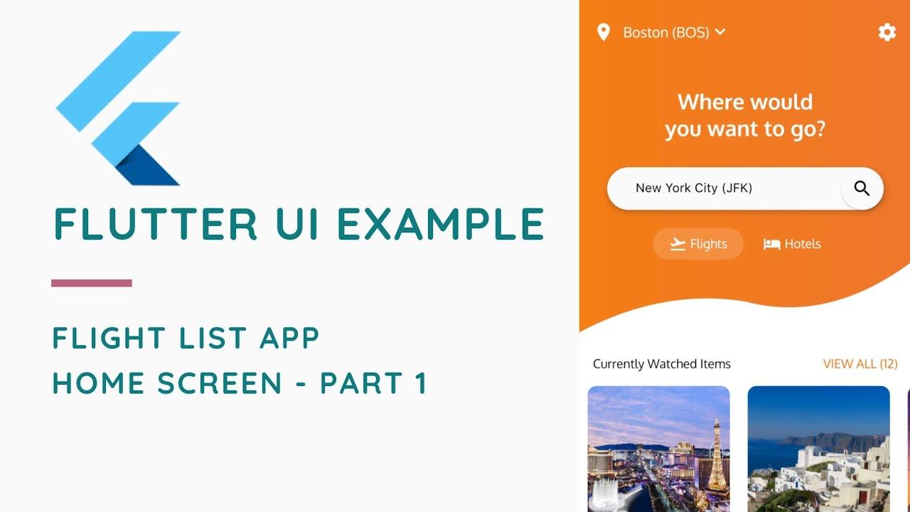Flight List UI Example In Flutter | Home Screen | Part 1