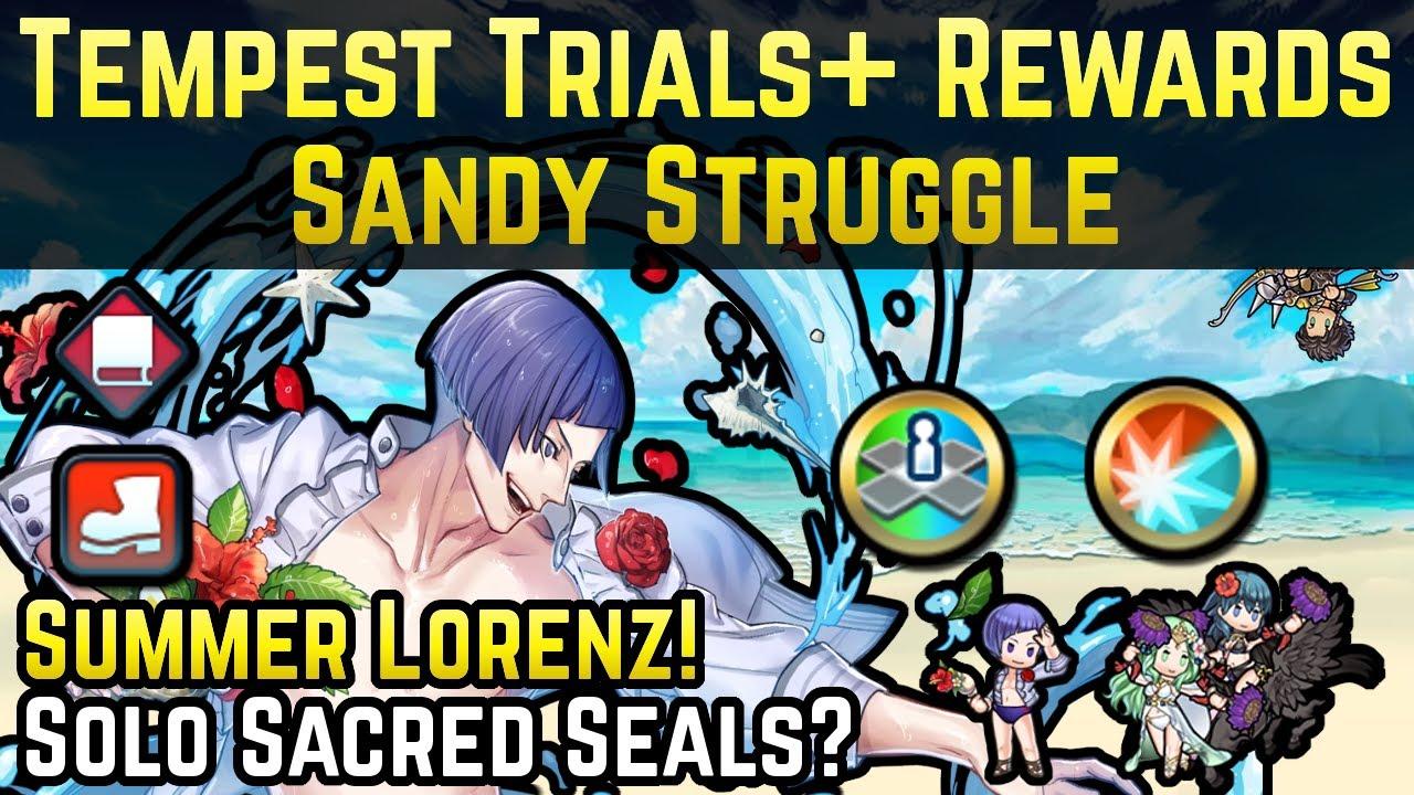 Summer Lorenz Review + Spd/Res Solo Sacred Seal! | Tempest Trials+: Sandy Struggle Rewards