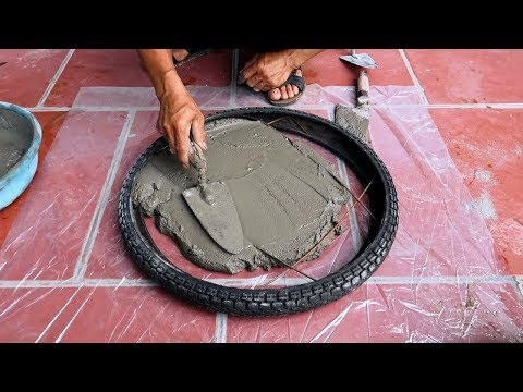 Amazing Technique Making Coffee Tables From Tires And Ceramic Tiles
