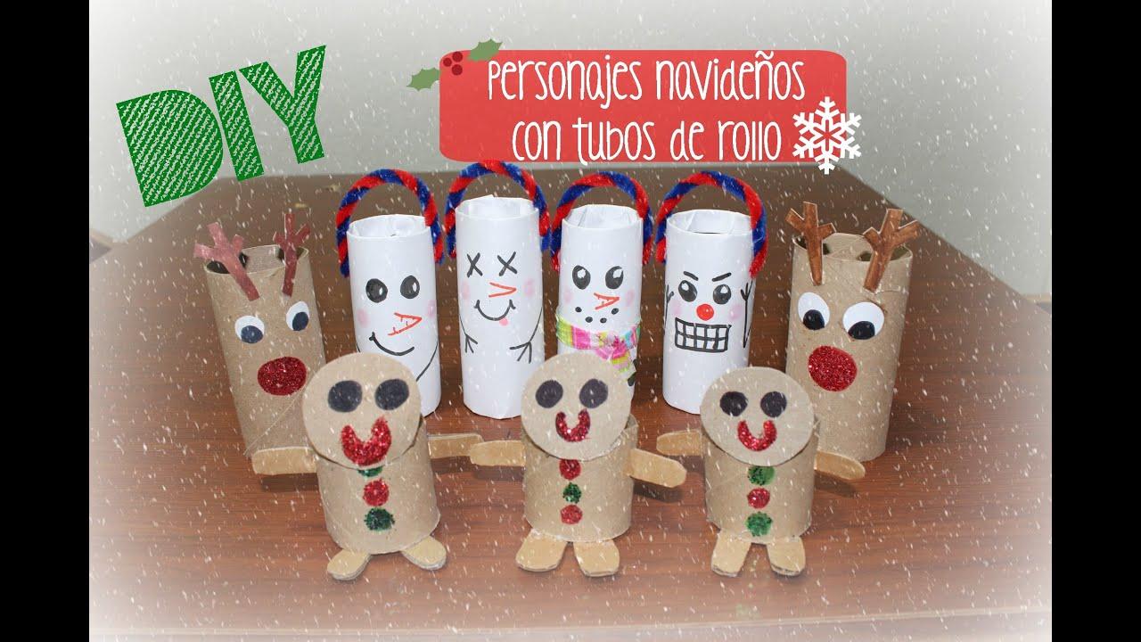 Diy personajes navide os con tubos de papel higi nico - Decoracion navidad papel ...