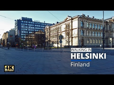 Walking in Helsinki Finland   the Quiet Streets of City Center [ 4K   Binaural Audio ]