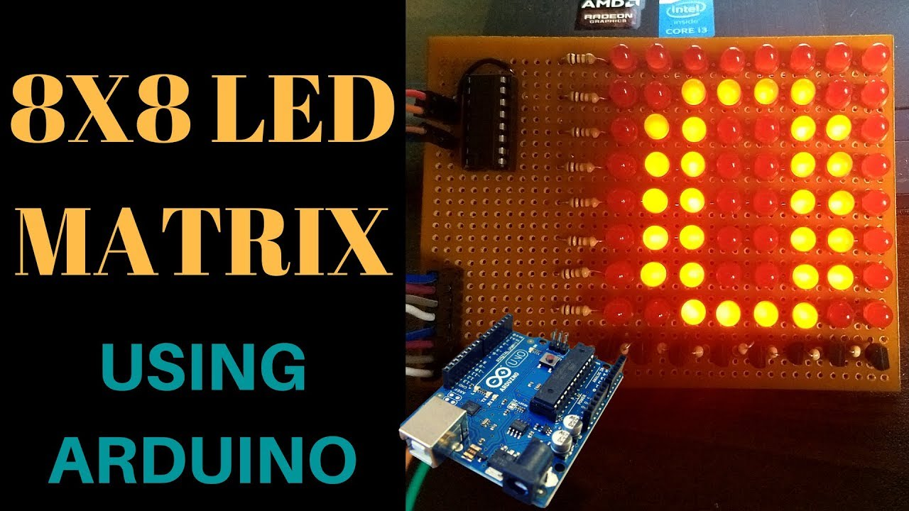 How to make 8x8 led matrix using arduino and ic 74595 shift register