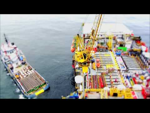 Offshore Crane operations shot in Small Life Tilt Shift Style