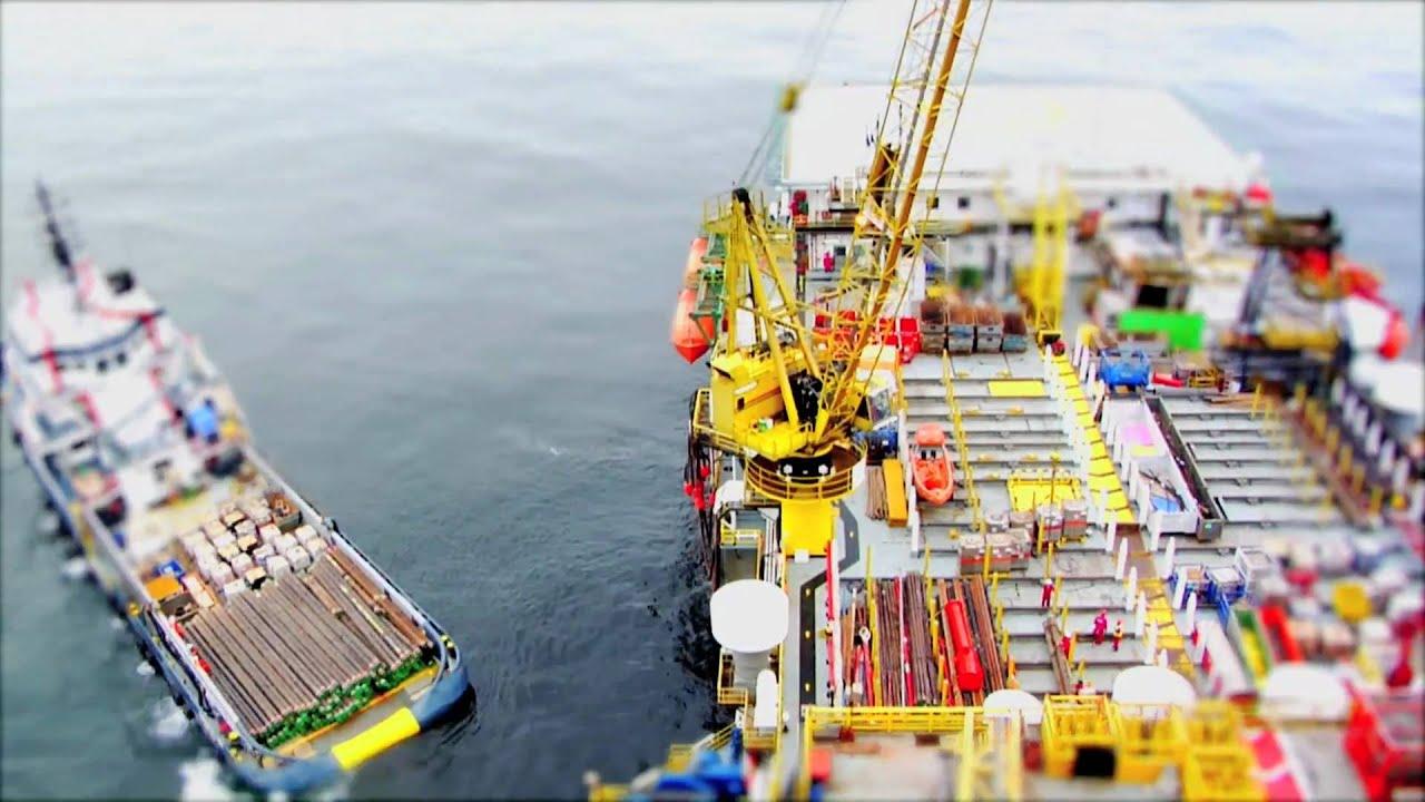 Offshore Crane Operations Shot In Small Life Tilt Shift