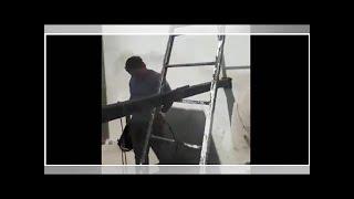 Constructores soldaron una escalera a la pared pero se les olvidó sacar la escalera