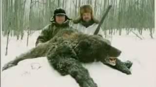 Охота на медведя зимой. Поднятие берлоги