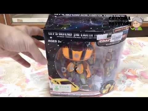 Unboxing TOYS Review/Demos - transformer Bumblebee Optimus Prime robots convert yellow