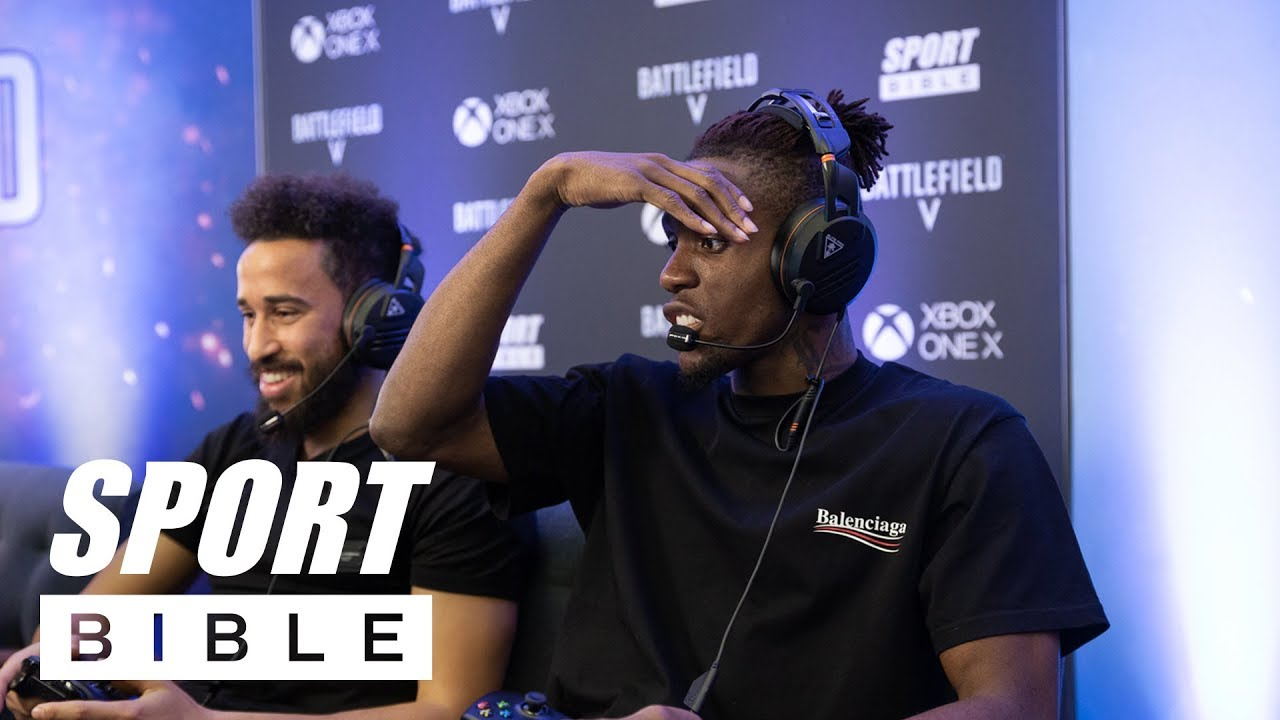 Wilfried Zaha, Andros Townsend and Aaron Wan-Bissaka try to master Battlefield V!