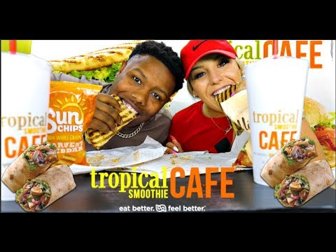 Tropical Smoothie Cafe Mukbang🥤🥭🥙