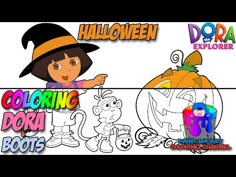 Dora The Explorer And Boots Halloween Coloring Page