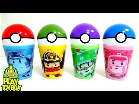 Pokemon Go Capsule Learn Colors Surprise Eggs Toys with Pororo Poil TAYO BUS Play Doh