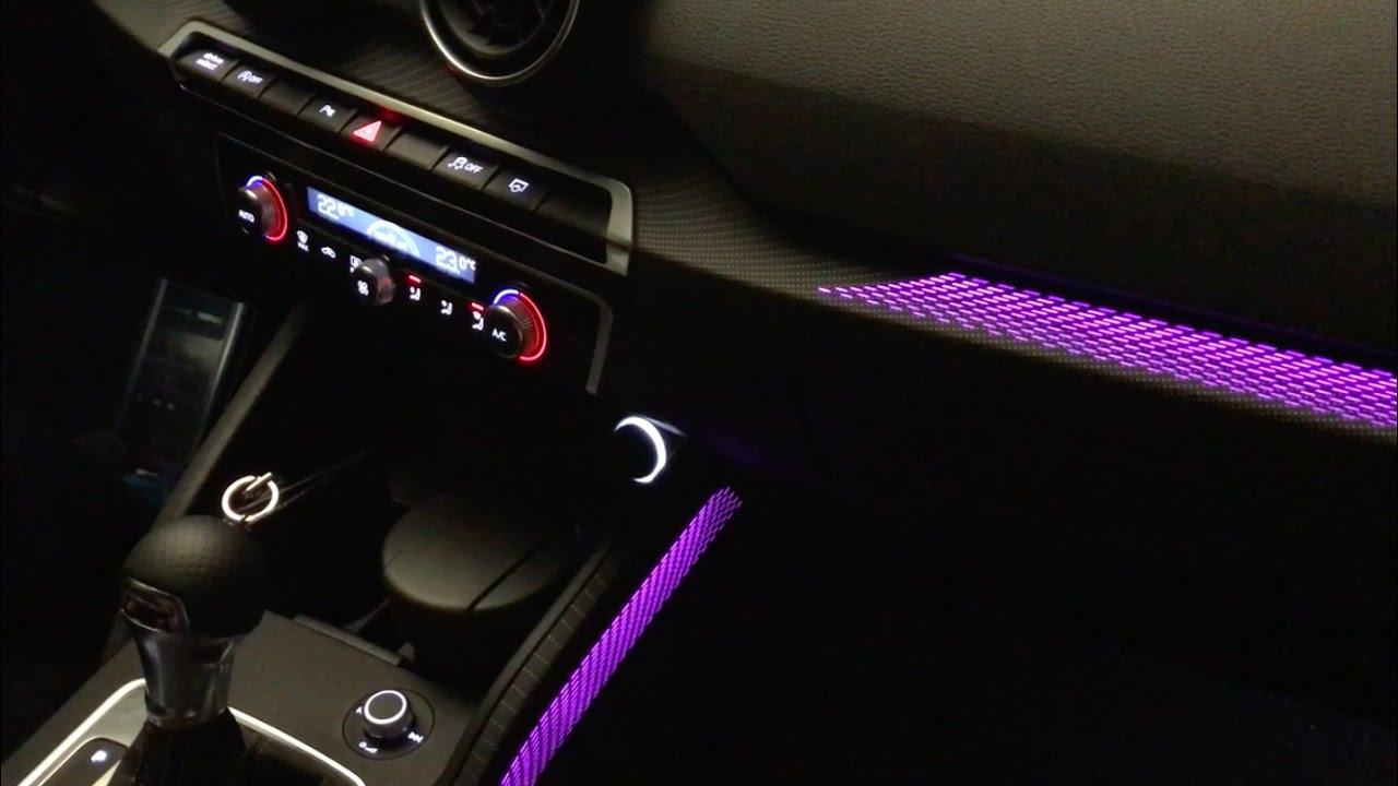 Audi Q2 interior detail  unique LED ambient light system