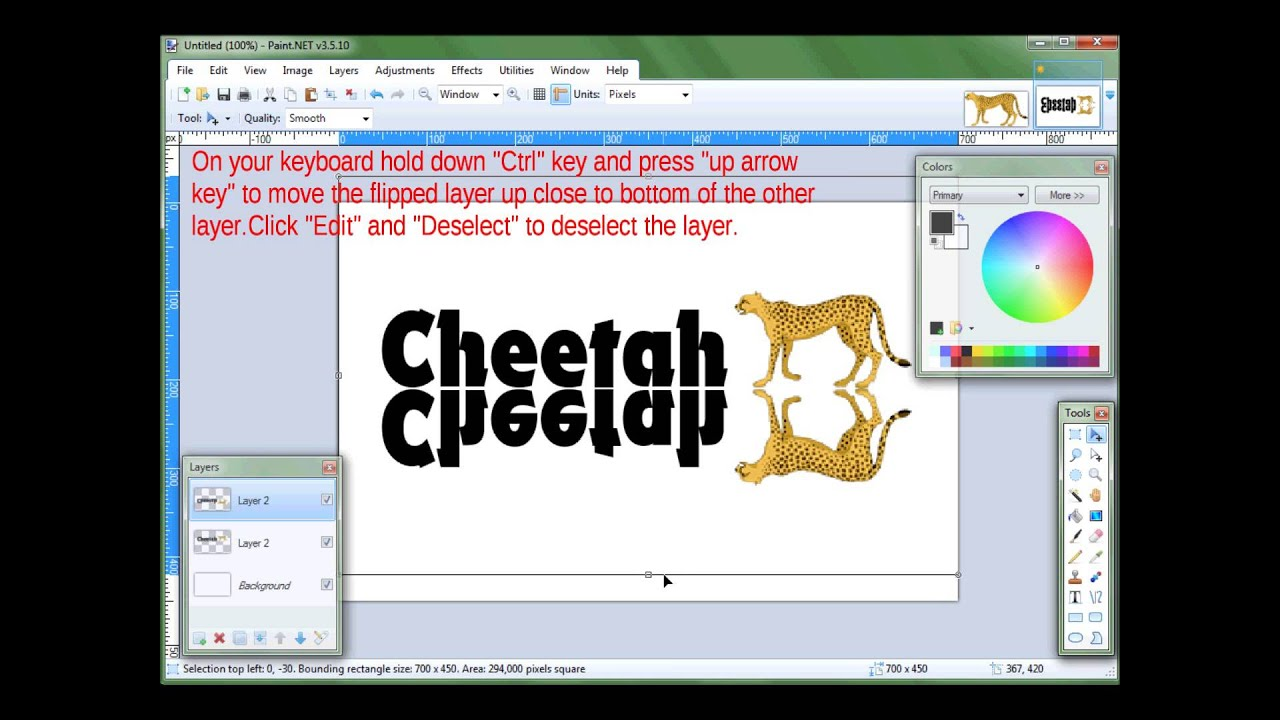 Paintnet Mirror Text Mirror Image Tutorial Youtube