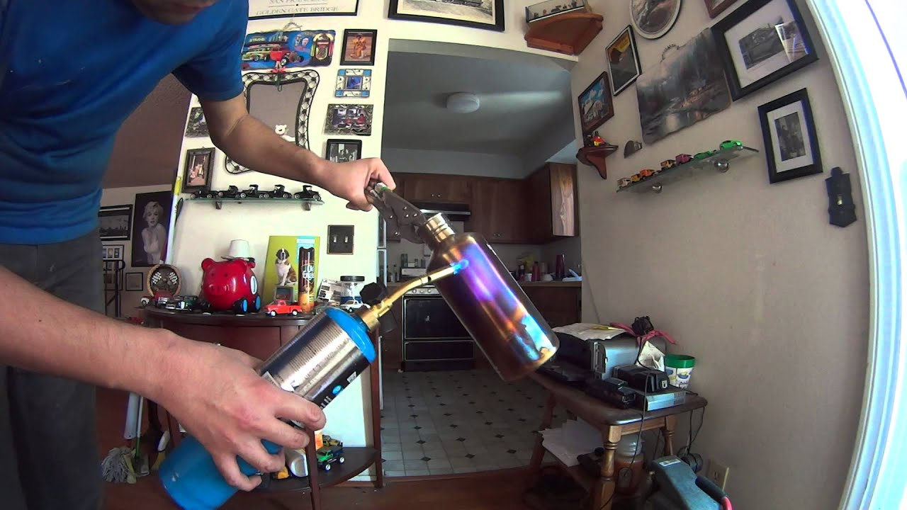 Hot Blueing a Stainless Steel Water Bottle - YouTube