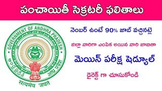 Panchayati Secretary screening test result 2019 and main exam revised schedule telugu 2019 telugu