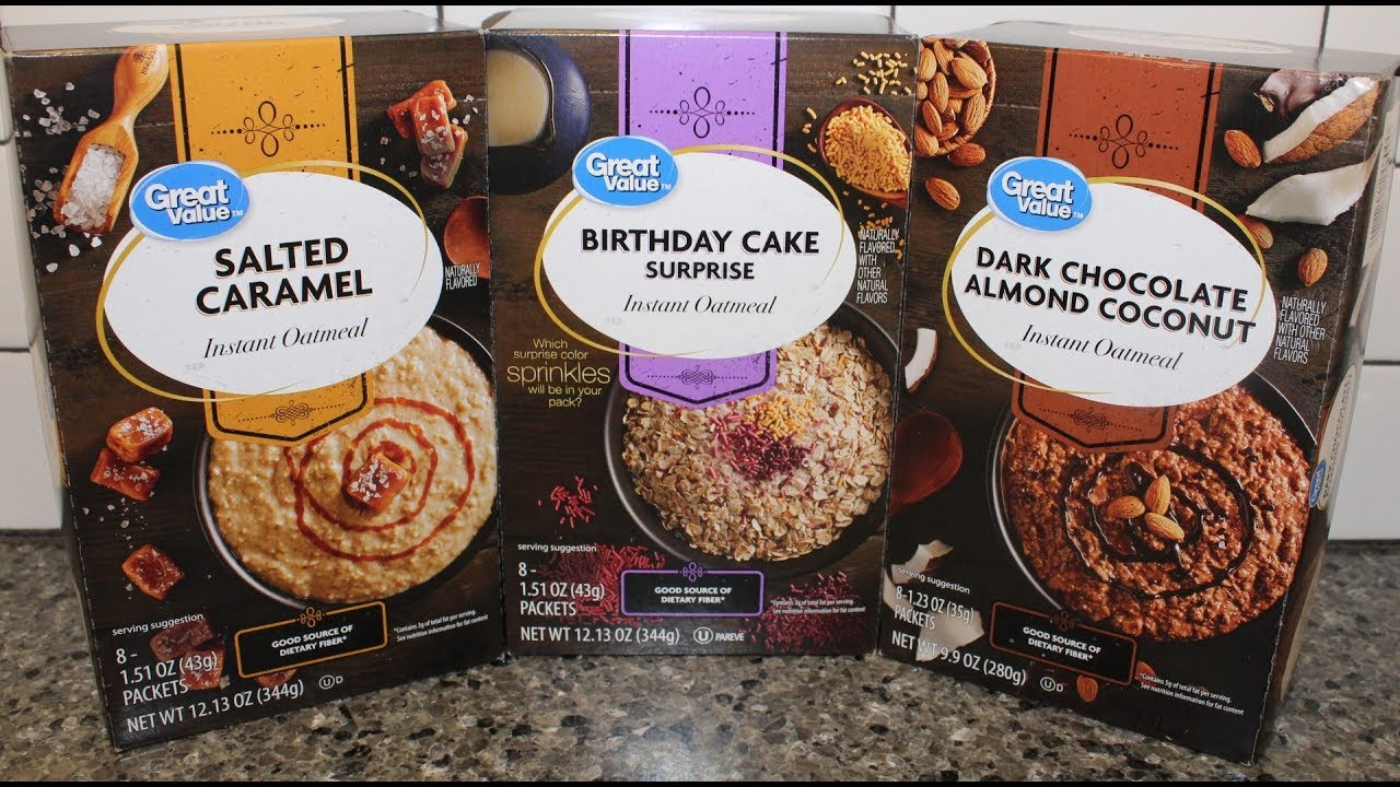 Great Value Instant Oatmeal Salted Caramel Birthday Cake Surprise Dark Chocolate Almond Coconut