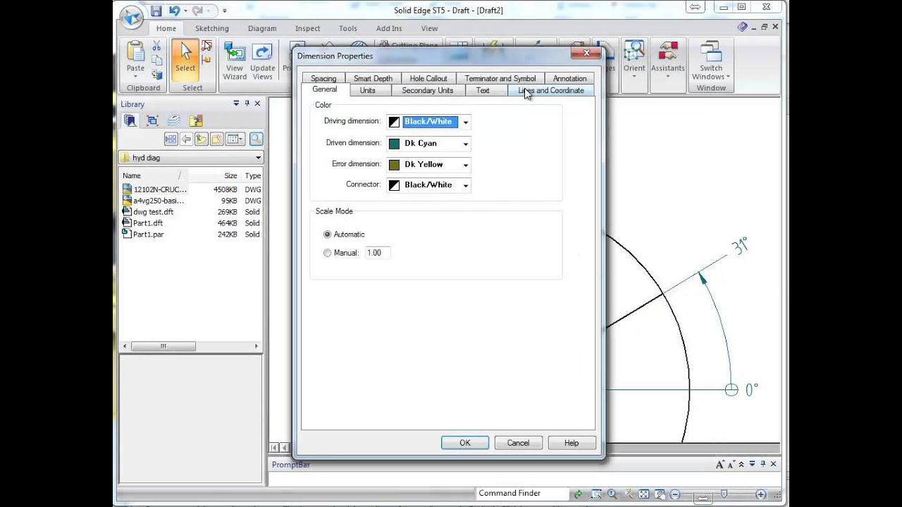 Solid Edge ST5 Remove radial dimension lines - YouTube
