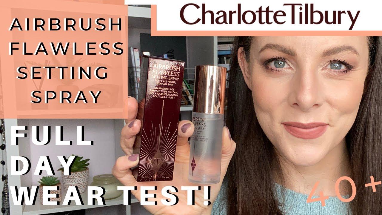 CHARLOTTE TILBURY AIRBRUSH FLAWLESS SETTING SPRAY | Full Day Wear Test | 40 plus skin! Does it work?