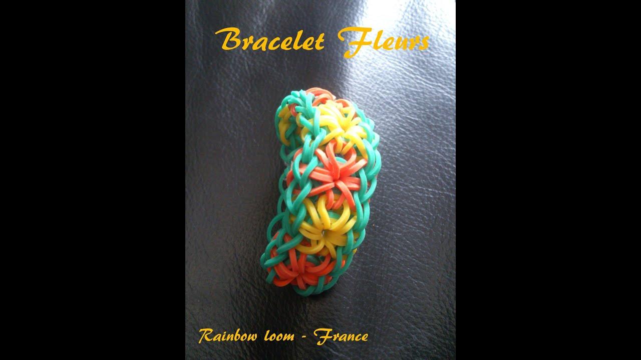 Bracelet elastique loom fleur