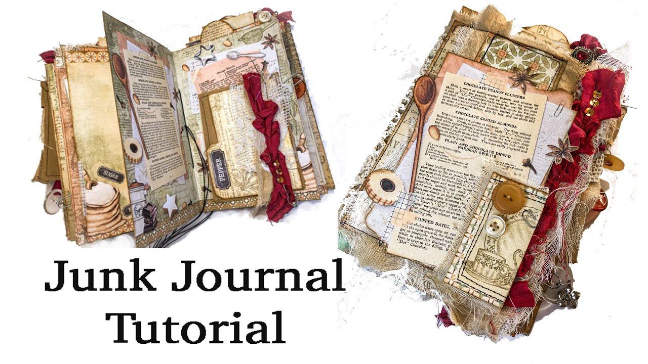 Recipe Junk Journal TUTORIAL for Beginners  @VectoriaDesigns - Digital Kit   JJ#212