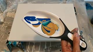 Acrylic pouring with an ice scoop! Fluid art experimentation! Florida abstract modern artist
