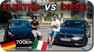 Roadtrip Nach Rimini: Tesla Model 3 vs Diesel 3er BMW