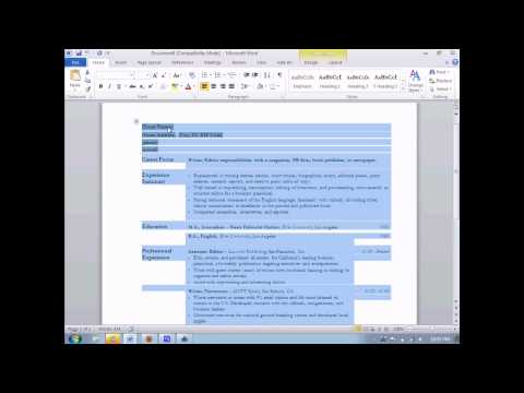 How To Make A Resume In Microsoft Word 2010 Youtube