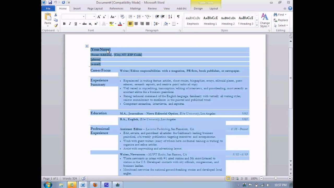 how to do resume on microsoft word 2010