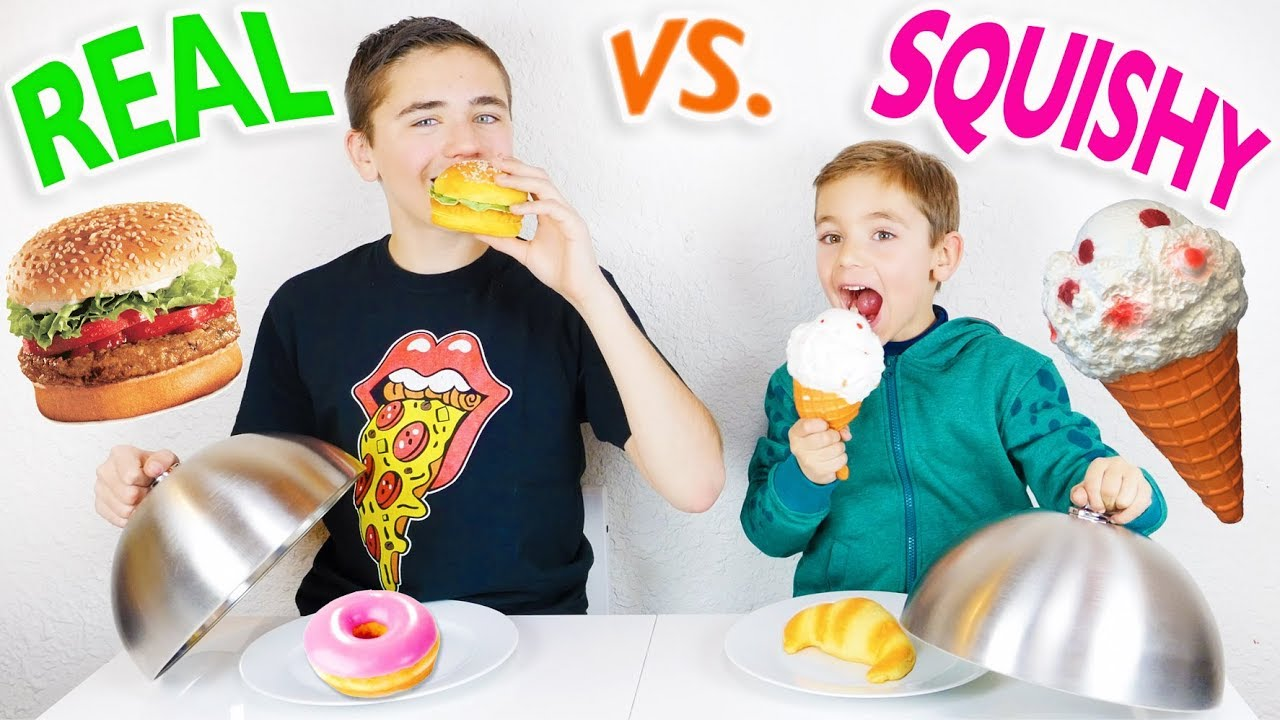 SQUISHY FOOD VS. REAL FOOD CHALLENGE ! - Vraie ou fausse nourriture ? - YouTube