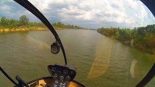 R22 Helicopter Flight Training #27 Low Level River l Running Takeoff