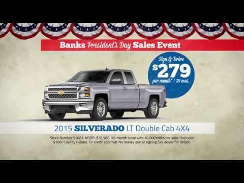 Banks Chevrolet NH Presidents Day Deal - $279 Silverado Sign and Drive Lease Special