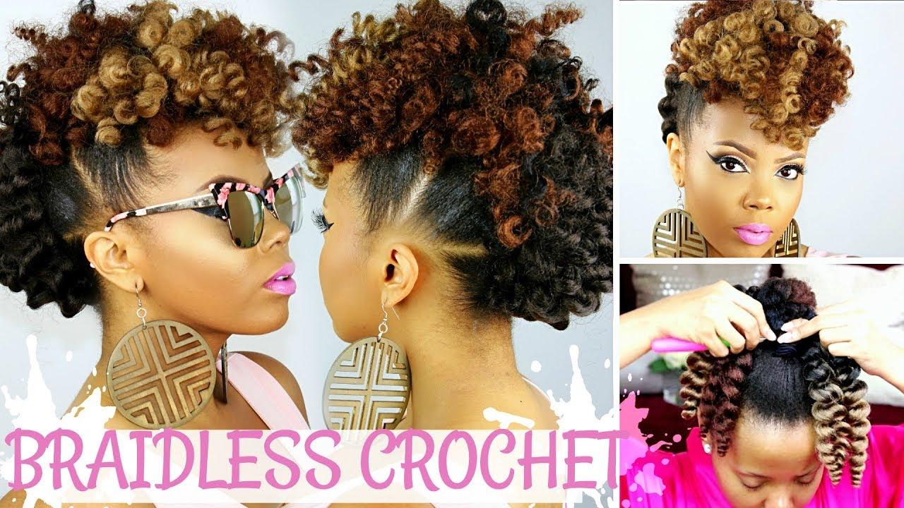 Braidless Crochet No Cornrows Curly Crochet Faux Hawk Tutorial