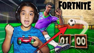 5 YEAR OLD LITTLE BROTHER ATTEMPTS TO SCORE A SOCCER GOAL IN FORTNITE! | FORTNITE FIFA CHALLENGE