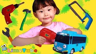 라임이의 꼬마버스 타요 전동 공구 놀이ㅣ타요키즈카페 액체괴물 뽀로로 장난감 놀이 LimeTube & Toys 라임튜브