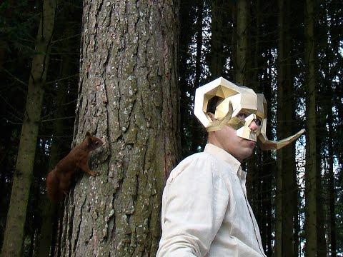 Demon mask papercraft timelapse
