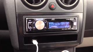 JVC KD-R80BT car stereo paired with an iPhone 5