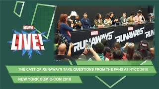 The cast of Marvel's Runaways talk season 2 at NYCC 2018!