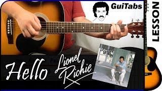 How to play HELLO 💘 - Lionel Richie / GUITAR Lesson 🎸 / GuiTabs #130