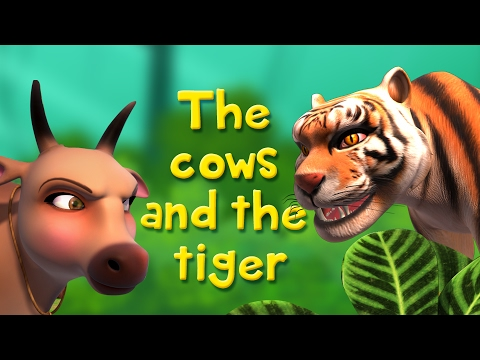Thumbnail: The Cows and the Tiger | Stories for Kids | Infobells