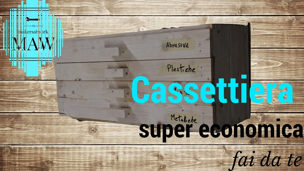 Cassettiera in legno super economica fai da te youtube for Coprifornelli fai da te