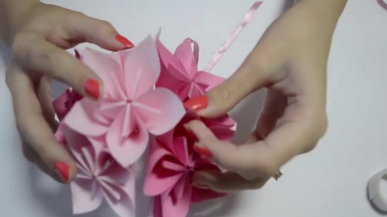 How to make an origami flower ball wedding party decorations youtube how to make an origami flower ball wedding party decorations dhlflorist Image collections