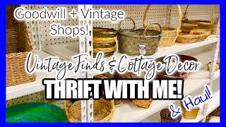 THRIFT WITH ME & THRIFT HAUL! • vintage & cottage decor • goodwill & vintage shops • september 2021